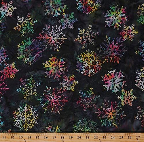 Cotton Batik Snowflakes Snowflake Multi-Colored Christmas Holiday Winter Bali Batik Hand-Painted Cotton Fabric Print by The Yard - Christmas Batik