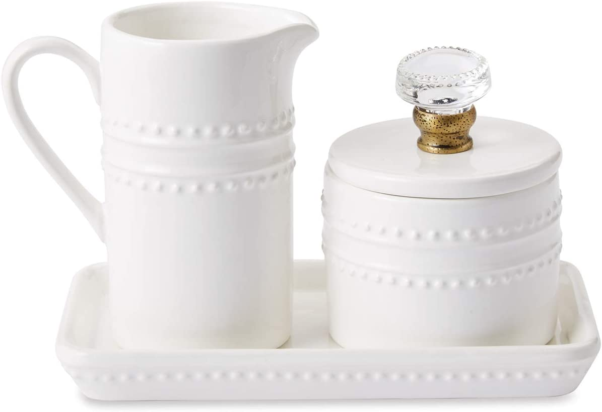 Mud Pie 47800002 Farmhouse Inspired Vintage Doorknob Cream and Sugar Set, One Size, White