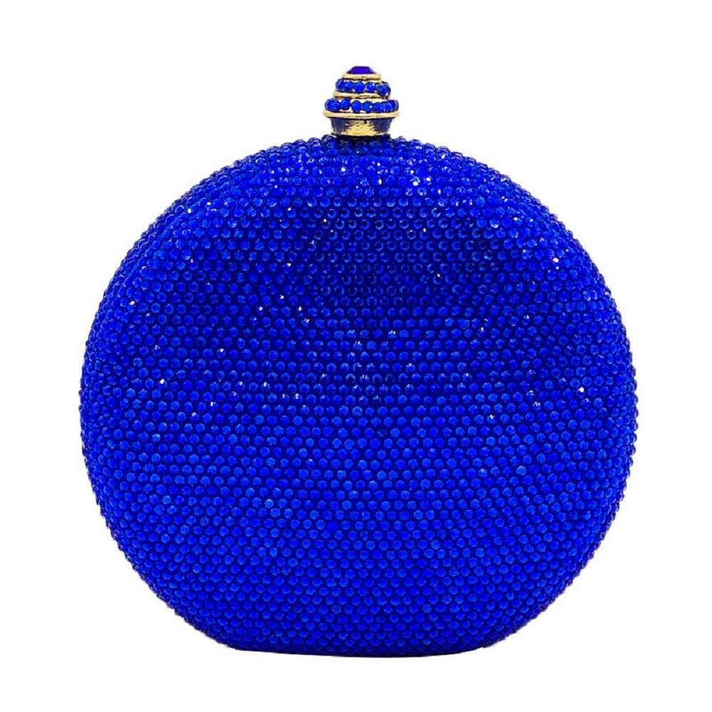 Royal Blue Round Circular Crystal Clutch Evening Bag Mini Metal Minaudiere Clutches Wedding Party Bridal