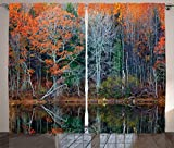 Ambesonne Leaves Decor Curtains, Magical Forest with Tree Reflections over the Lake Rural Forest Charm Scenic World Concept, Living Room Bedroom Decor, 2 Panel Set, 108 W X 84 L Inches, Brown Red