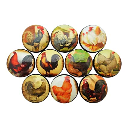Set Of 10 Rooster Cabinet Knobs