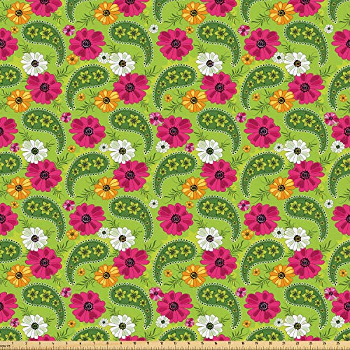 bric by The Yard, Floral Pattern with Vivid Paisley Print Old Vintage Boho Style Print, Microfiber Fabric for Arts and Crafts Textiles & Decor, 10 Yards, Pistachio Pink Orange ()