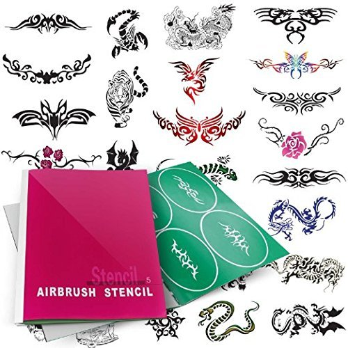 Stencil Airbrush Set Template (Airbrush Tattoo Stencils Book- Reuseable Tattoo Template Set (1-5_ (#5))