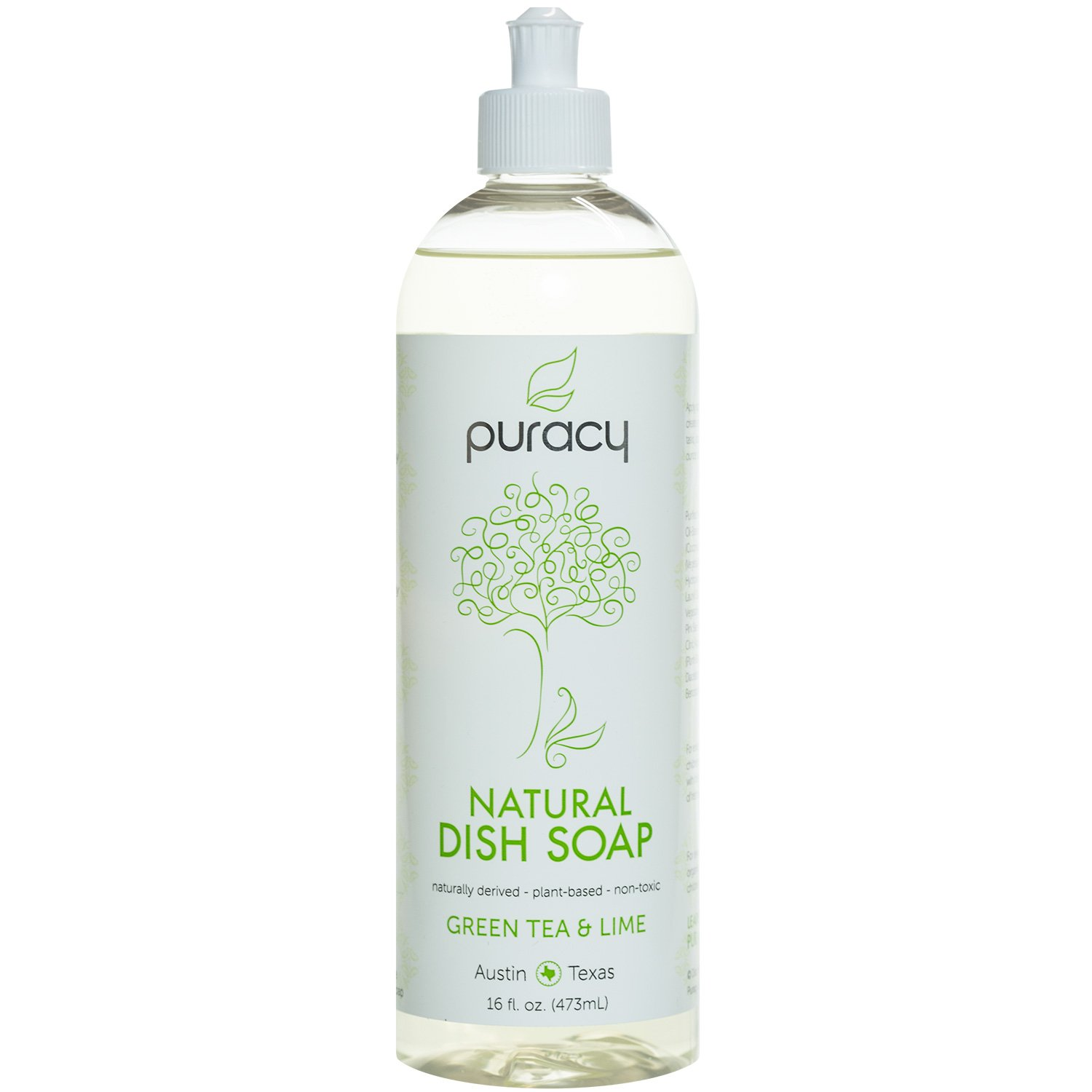 Puracy Natural Liquid Dish Soap, Sulfate-Free Dishwashing Detergent, Green Tea and Lime, 16 Ounce Bottle, (Pack of 3) PDS16-3