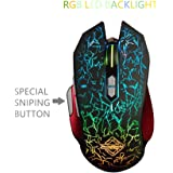 Ajazz GT Wired Gaming Mouse, Special SNIPING Button Design, Default Office/Games/Music Modes, Programmable 9 Buttons, RGB Backlit, Ergonomic USB Gamer Mice Computer Laptop PC, for Windows Mac OS Linux