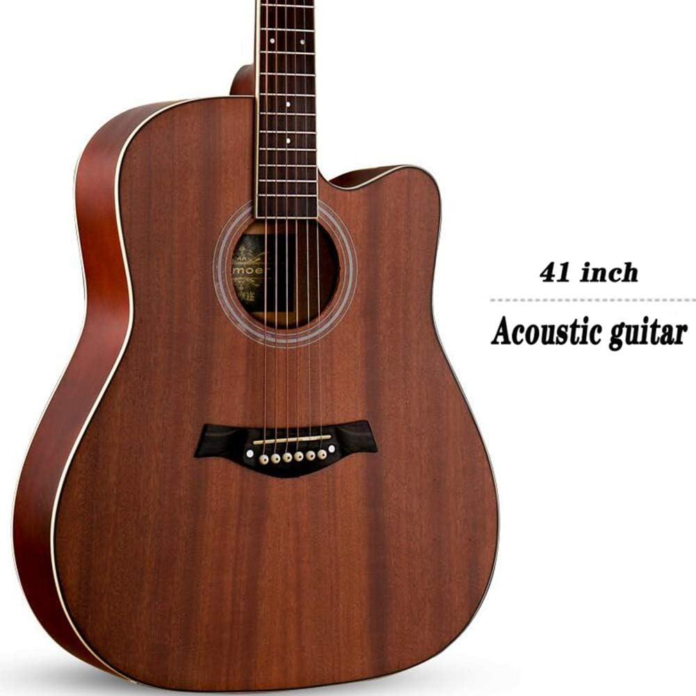 Guitarra Acústica Guitarra Clásica 41 Pulgadas Acorazado Corte Principiante Cuerda De Acero Guitarra De Madera Equipo con Bolsa Estanca Mate, 5 Colores Gdming (Color : Brown)