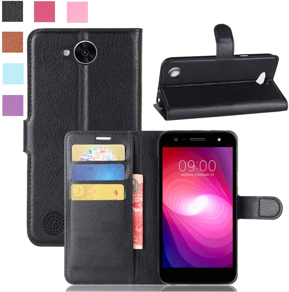 LG X Charge Case, LG Fiesta LTE/LG Fiesta 2 Case, LG X Power 2 Case, [LuckQR] PU Leather Wallet Case, Folding Kickstand, Folio Design with Card & Cash Slot, Full Body Protective Cover Case - Black