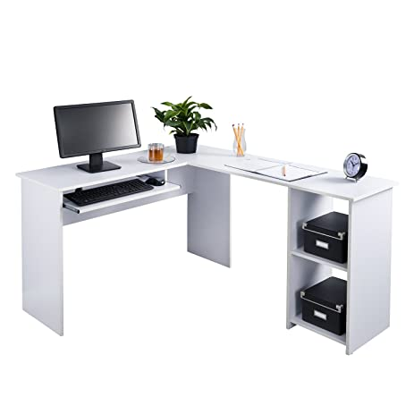 Amazoncom Fineboard LShaped Office Corner Desk 2 Side Shelves