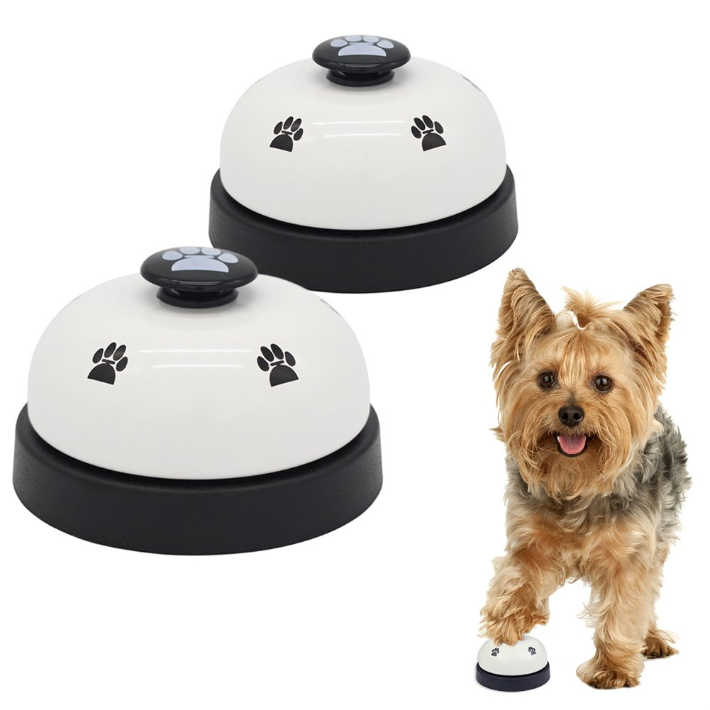 AK KYC 2 Pack Dog Pet Training Bells for Potty Training and Communication Device Pew Print Interactive Toys,Black
