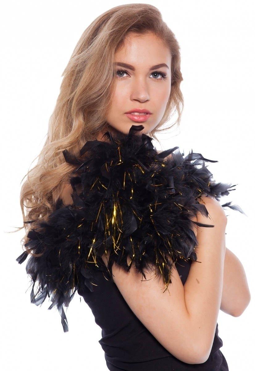 Boa de plumas Negro con dorados 180cm Folat