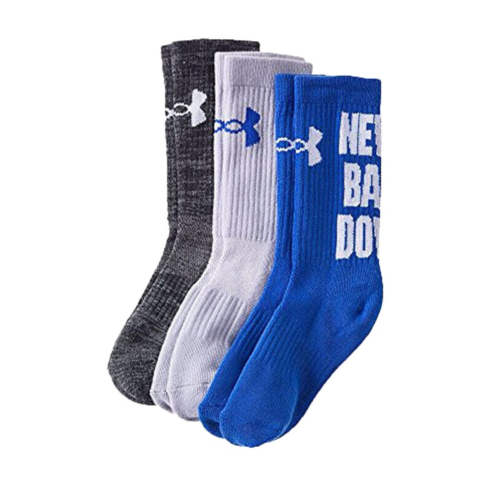 Under Armour Youth 3 Pairs Crew Socks ''Never Back Down'' Shoe Size: Youth Large (Youth Shoe Size 4Y - 8Y), Blue (UL379-7195) / Heather Grey/Grey by Under Armour