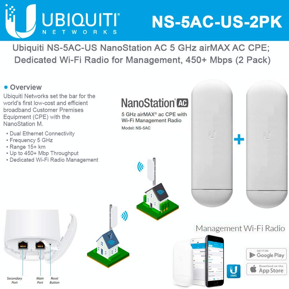 NanoStation AC NS-5AC-US 5 GHz Airmax AC CPE Dedicated Wi-Fi Radio for Management 450+ Mbps (2 Pack) by UBNT Systems