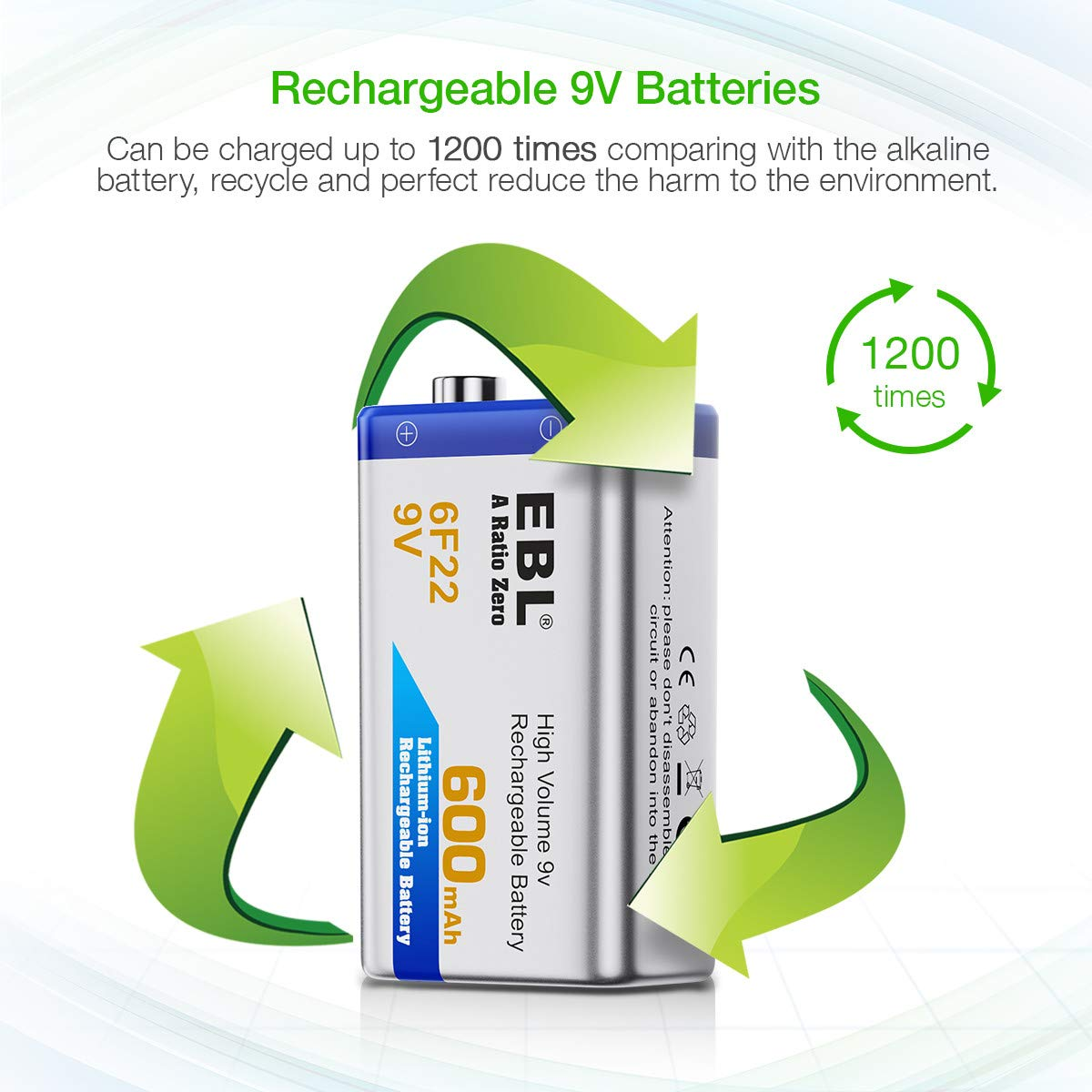EBL 9V High Volume 600mAh Lithium-ion Rechargeable 6F22: Amazon.co ...