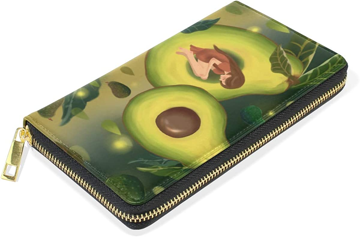 Green Girl Angel Wallet Real Leather Purse for Women Phone Girl Men