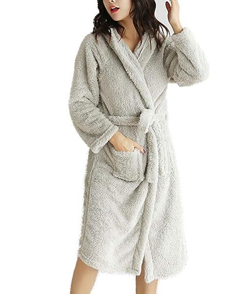 074edf270e Women s Full Length Plush Fleece Hooded Robe Long Bathrobe (One-Size ...