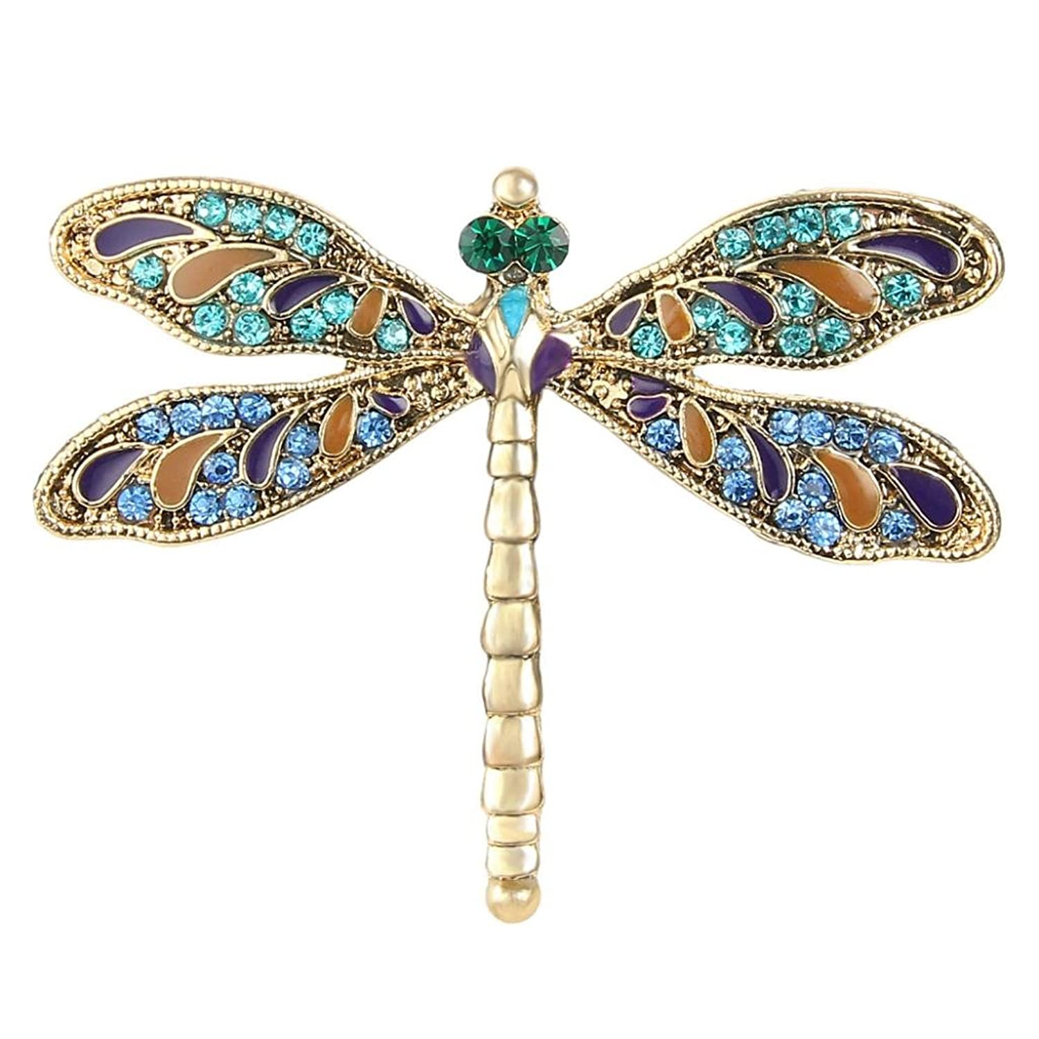 EVER FAITH Austrian Crystal Enamel Vintage Inspired Dragonfly Insect Animal Brooch Pin Gold-Tone