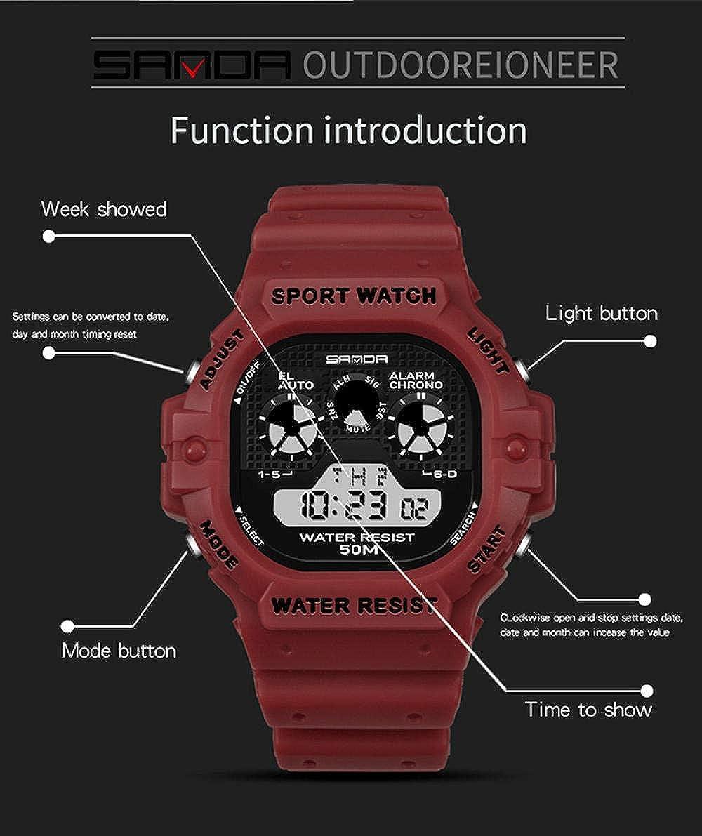 Orologi da polso Orologio Elettronico Quadrato Impermeabile Da Uomo Per Attività Sportive Multifunzionali Red