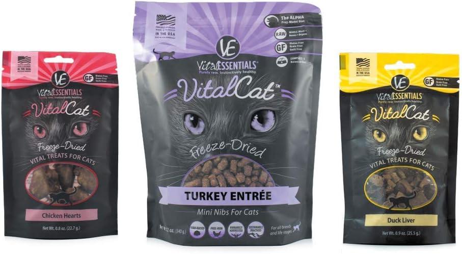 Vital Cat Freeze-Dried Grain Free Turducken 3 Pack: Turkey Entrée (12 oz.), Duck Liver Treats (.9 oz) , and Chicken Hearts Treats (.8 oz)