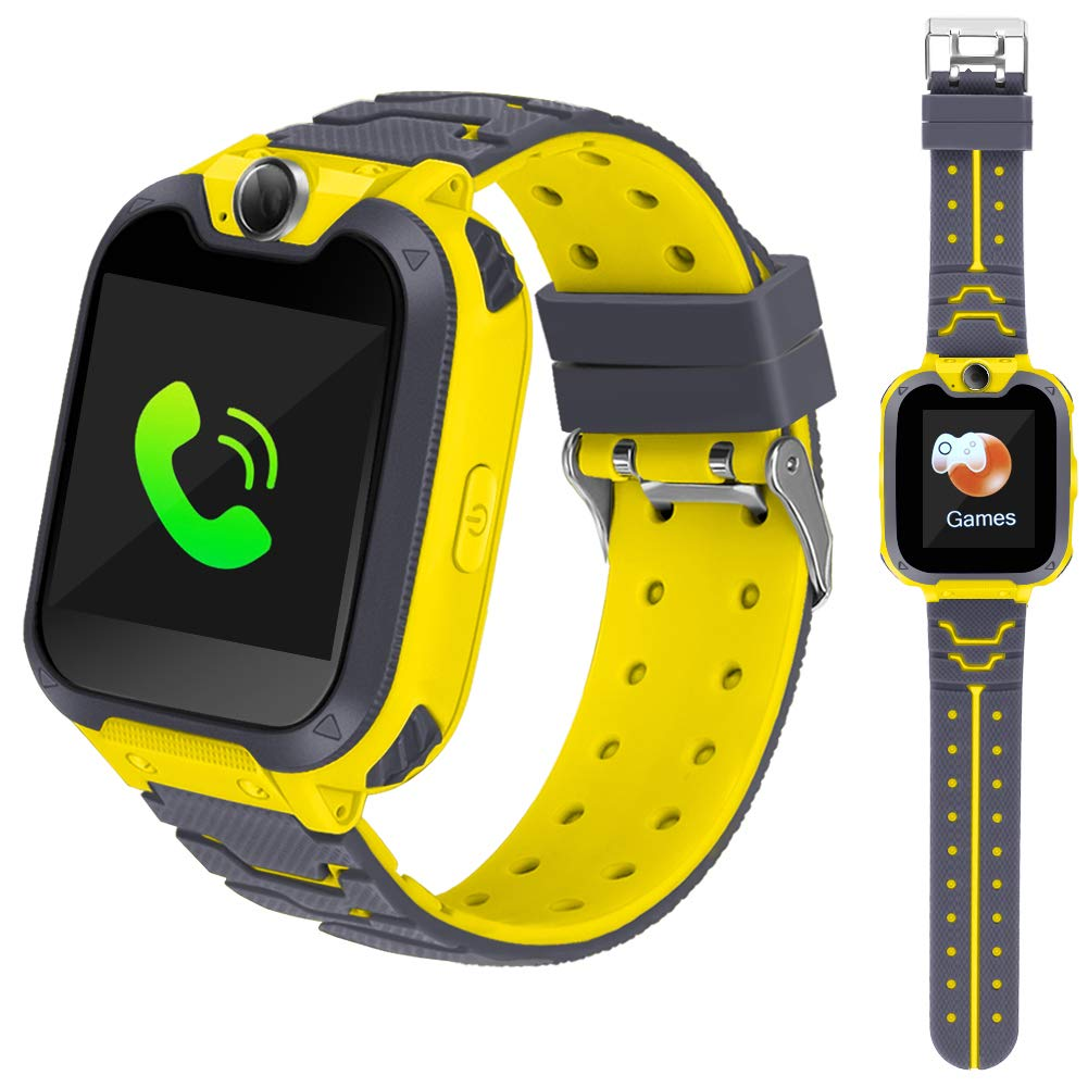 Smart Phone Watches For Kids Game Watch With Camera Touch Screen Digital Wrist Phone Watch Music Player For 3-12 Year Old Boys Girls Ipx5 Waterproof Electronic Educational Learning Toys (Yellow)