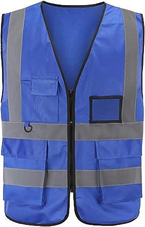 Plusieurs Couleurs 7 Poches de Classe 2 Gilet de s/écurit/é Haute visibilit/é Devant avec des Bandes r/éfl/échissantes L, Orange/&Blue Unisexe Jaune r/épond aux Normes en ISO 20471