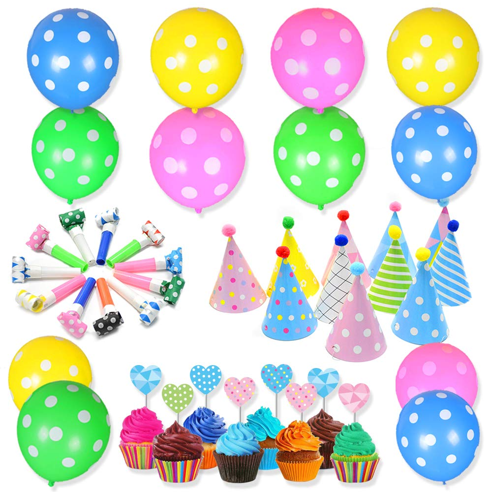 48Pcs Party Supplies for Kids Birthday Party Supplies Rainbow Party Decorations Sets with Party Balloons Party Hats Cake Flags Blowing Dragons Good for Birthday Party Decorations