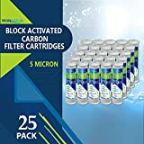 5MC-25PK 5 Micron 10-Inch carbon Block Water Filter Cartridge Coconut Shell Activated Carbon, 25-Pack