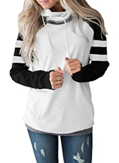31ac1ed42 Happy Sailed Women Casual Double Hoodies Stripe Long Sleeve Cowl Neck  Drawstring Pullover Sweatshirts Tops