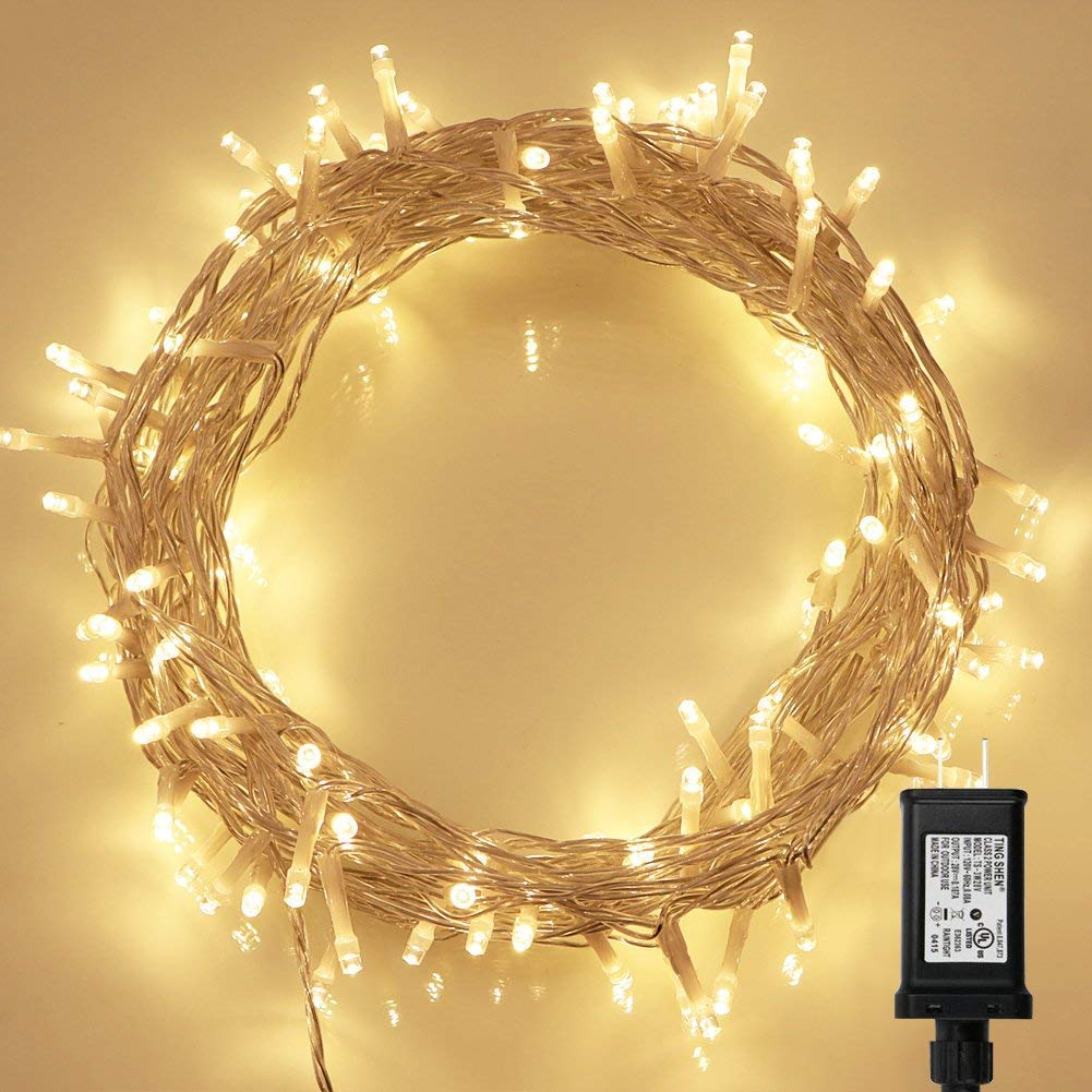 200 LED Indoor String Light with Remote and Timer on 69ft Clear String (8 Modes, Dimmable, Low Voltage Plug, Warm White) Koopower ICO-200L