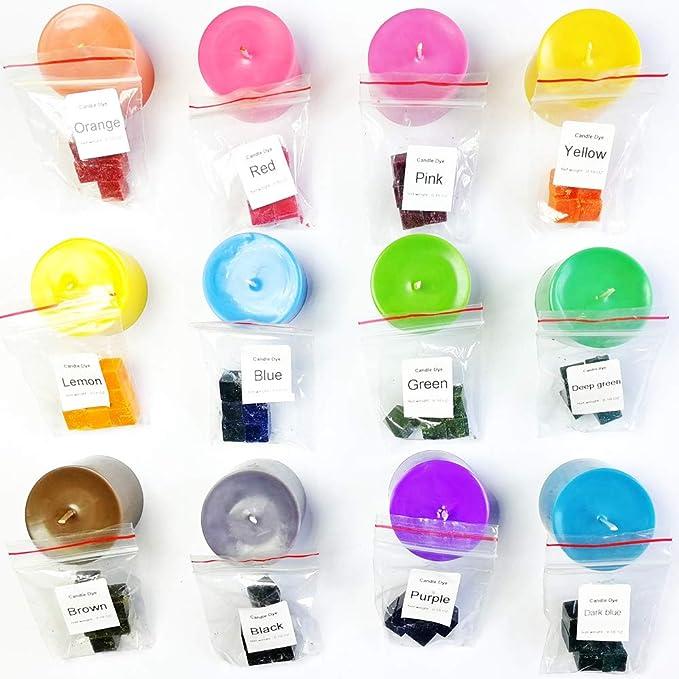 Bloque de cera para teñir velas de soja para hacer velas de soja, 12 colores de tinte