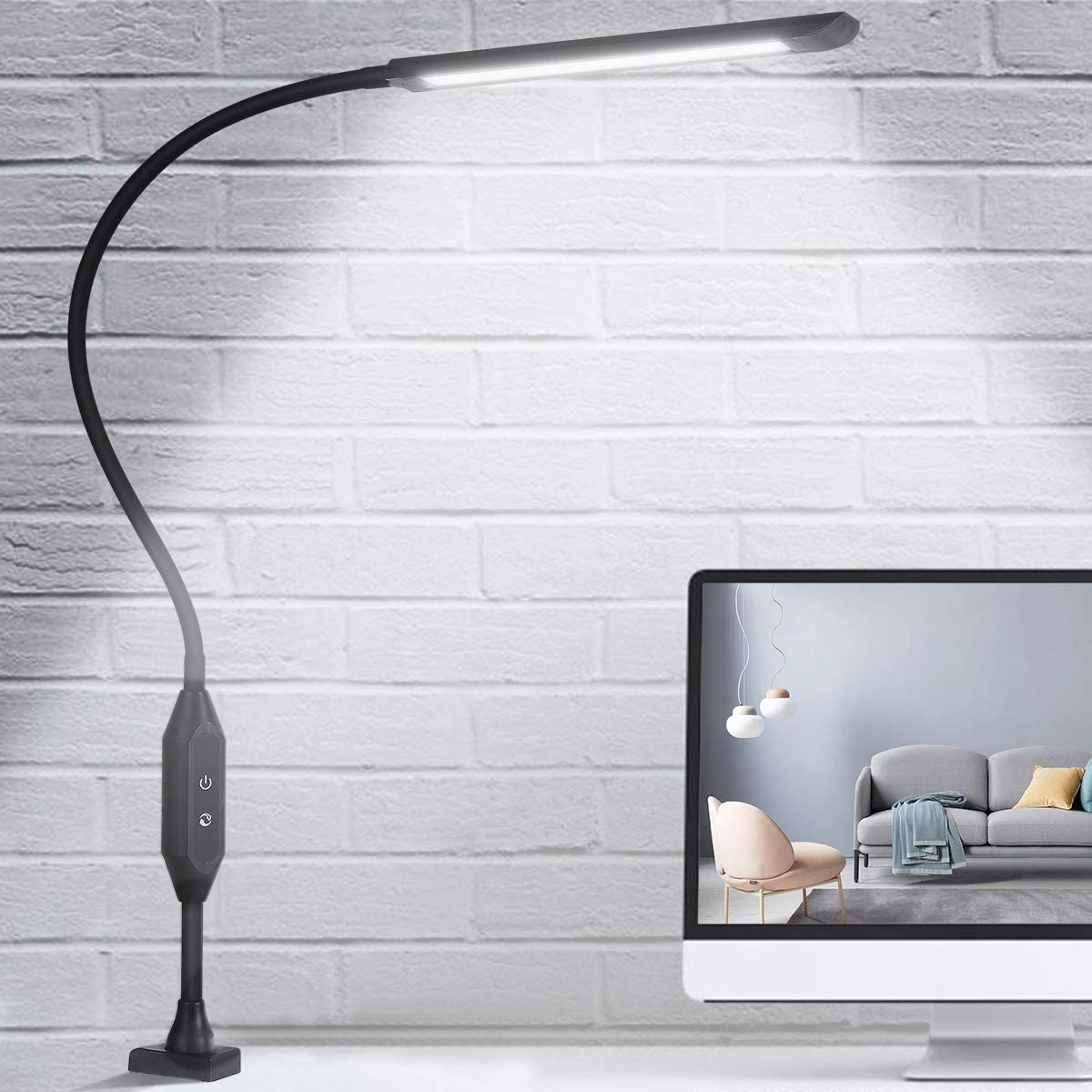 KEDSUM LED Desk Lamp with Clamp, Flexible Gooseneck Clamp Lamp with Touch & Remote Control, 10W Eye-Care Architect Desk Lamp for Office/Home, with 5 Color Modes, 5-Level Brightness & Memory Function