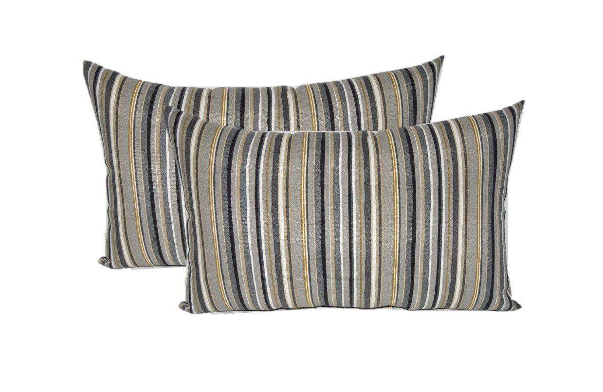 Set of 2 - Indoor / Outdoor Rectangle / Lumbar Decorative Throw / Toss Pillows ~ Cala Stripe Slate - Yellow, Ivory, Gray