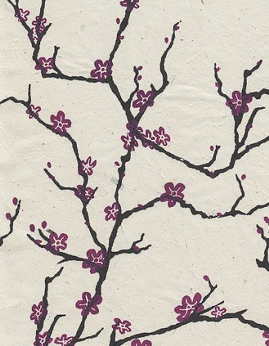 Nepalese Peach Blossom Paper- Magenta Flowers on Natural 19x29.5 Inch Sheet