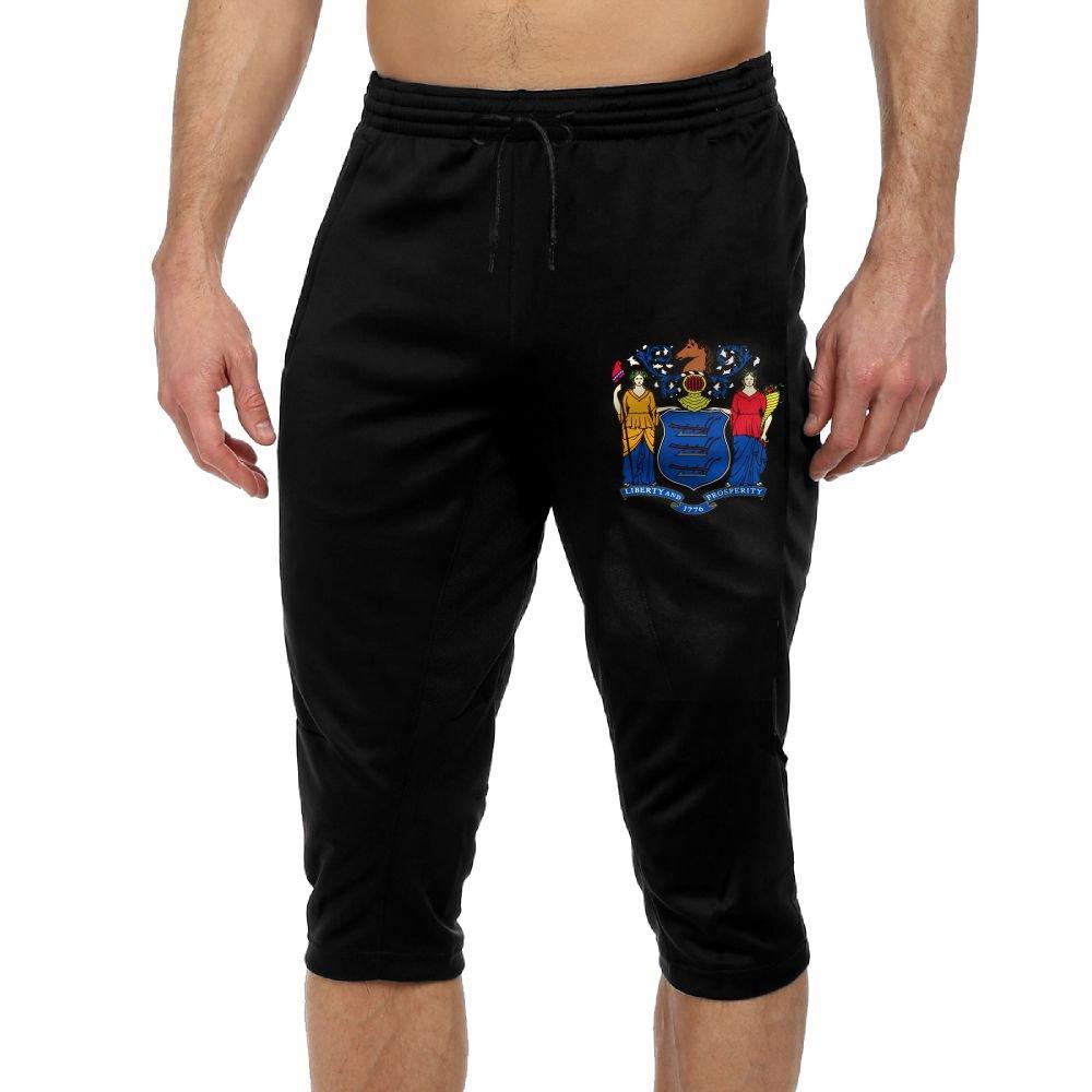 Men's Novelty Performance New Jersey State Flag Print Crop Sweatpant Capri Pants Drawstring Knee Pant Black Large