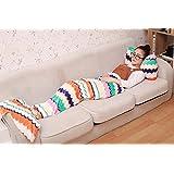 Pantrasamia Mermaid Tail Blanket Snuggle Mermaid Blanket for adult Teens, Super Soft and Fashion Sleeping Bags All Seasons Sleeping Blankets (Sea wave)
