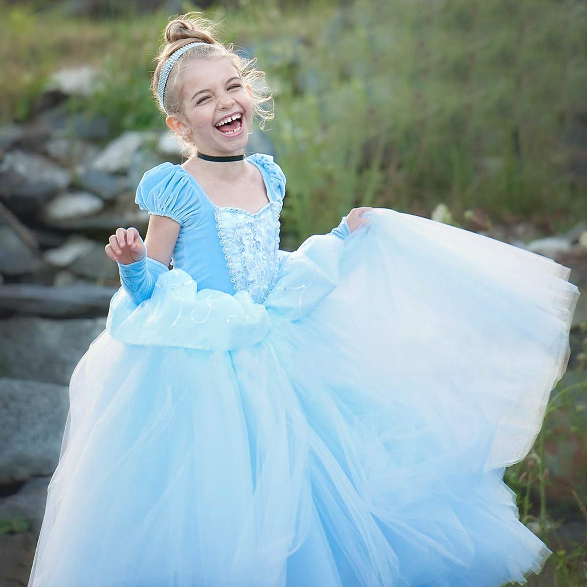 Cinderella Costumes Girls Princess Dress Up Fancy Halloween Christmas Party with Tiara and Choker Set Blue by TYHTYM (Image #4)