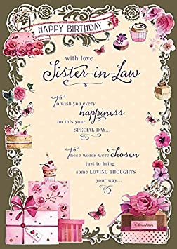 Amazon.com: Sister In Law   Happy Birthday Nice Verse Quality Greeting  Card: Kitchen U0026 Dining