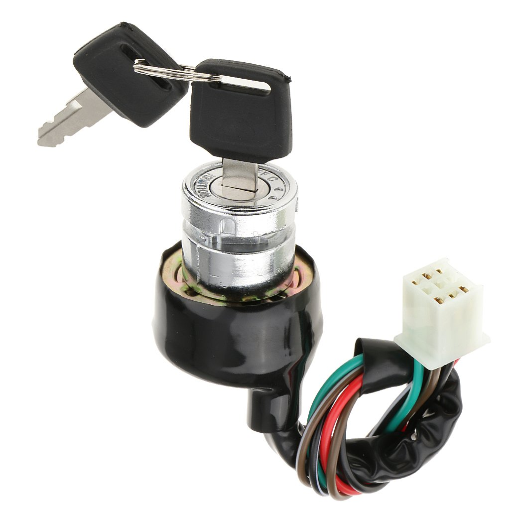 MonkeyJack Ignition Key Switch Lock 6 Wires for Pit Bikes Dirt Bikes Scooters Go-Karts Universal Fit