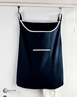Space Saving Hanging Laundry Hamper Bag Dark Blue With Free Door Hooks   By  The Fine
