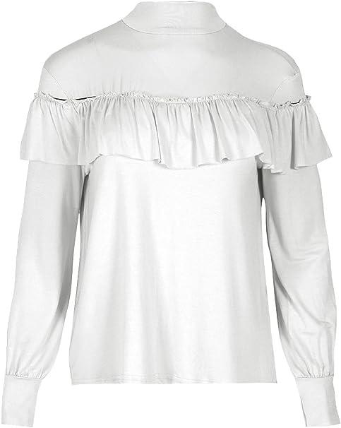 Oops Outlet Manga Larga Mujer Fruncido Volante Polo Tortuga Cuello Alto Jersey Camiseta - Crema, S/M (UK 8/10): Amazon.es: Ropa y accesorios