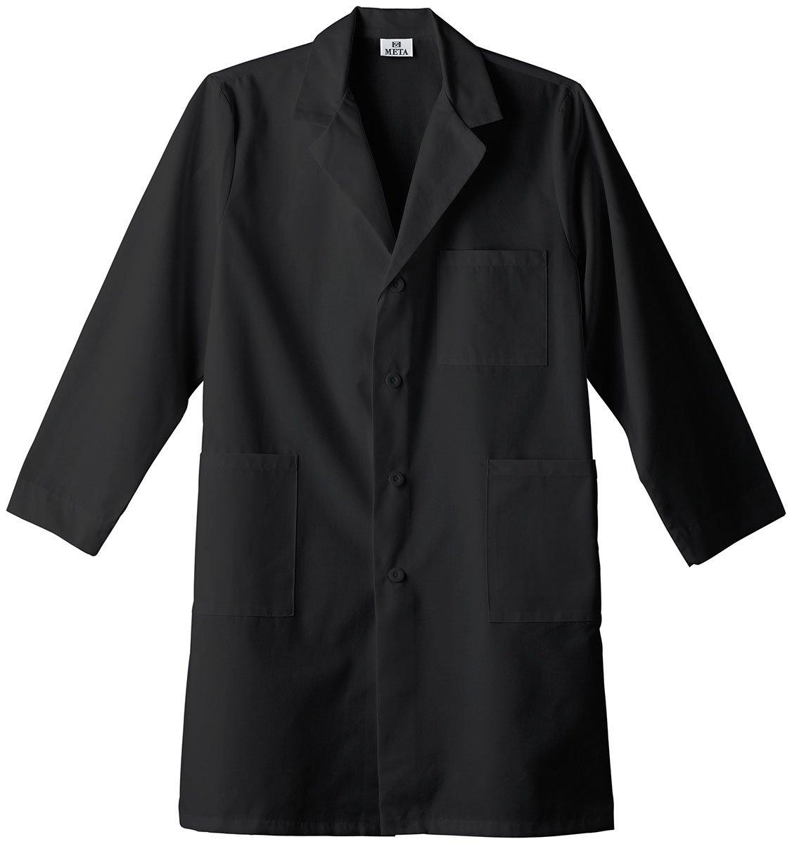 Meta LabWear Unisex Colored 40''; Lab Coat XXXXX-Large Black