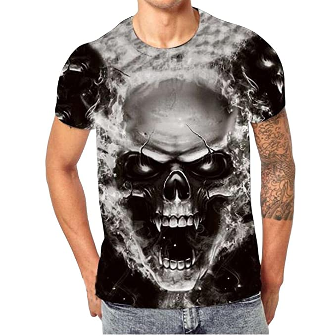 Kairuun Hombre Camisetas 3D Calavera Rock T-Shirts Verano Punk Cráneo Manga Corta tee Tops Negro rlLqCep