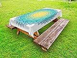 Lunarable Mandala Outdoor Tablecloth, Aquatic Color Mandala Pattern with Sun in Center Asian Art Meditation Zen, Decorative Washable Picnic Table Cloth, 58 X 84 inches, Yellow Green Blue