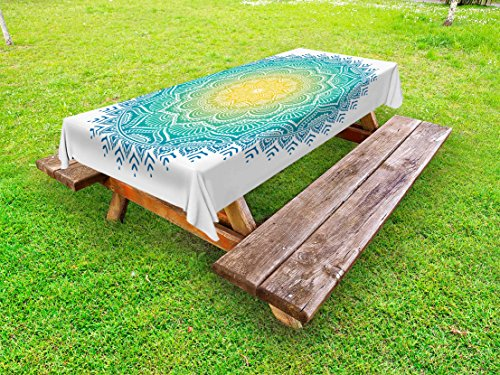 Lunarable Mandala Outdoor Tablecloth, Aquatic Color Mandala Pattern with Sun in Center Asian Art Meditation Zen, Decorative Washable Picnic Table Cloth, 58 X 84 inches, Yellow Green Blue by Lunarable