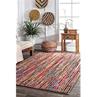 nuLOOM 200MGNM05A-2608 Aleen Braided Cotton/Jute Area Rug, 2 6 x 8