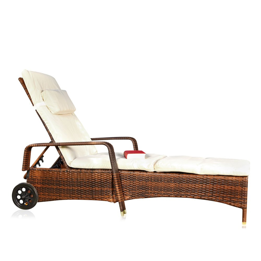 sonnenliege mit verstellbarer r ckenlehne inkl auflage rollen in braun jetzt bestellen. Black Bedroom Furniture Sets. Home Design Ideas