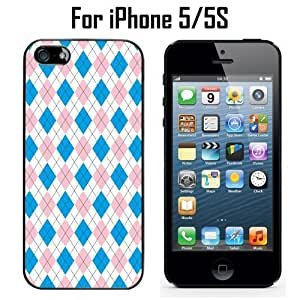 Blue Pink Argyle Pattern Custom Case/ Cover/Skin *NEW* Case for Apple iPhone 5/5S - Black - Plastic Case (Ships from CA) Custom Protective Case , Design Case-ATT Verizon T-mobile Sprint ,Friendly Packaging - Slim Case