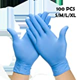 Enjoyee 100 Pcs Disposable Gloves PVC Free Rubber Latex Free Medical Exam Gloves Non Sterile Comfortable Industrial Blue Rubber Gloves-L