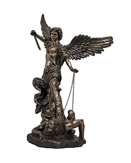 HUGE 4u0027 St. Michael The Archangel Cold Cast Bronzed Statue Saint
