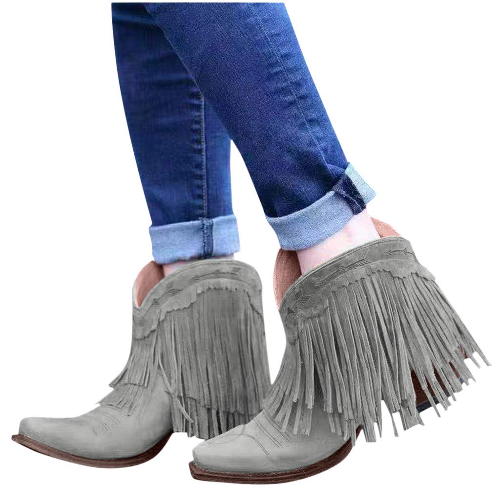 Yxiudeyyr Western Boots,Womens Plus Size Pointed Toe Tassel Ankle Boots Scrub Fringe Low Chunky Heel Booties Office Shoes(Gray,37) by Yxiudeyyr