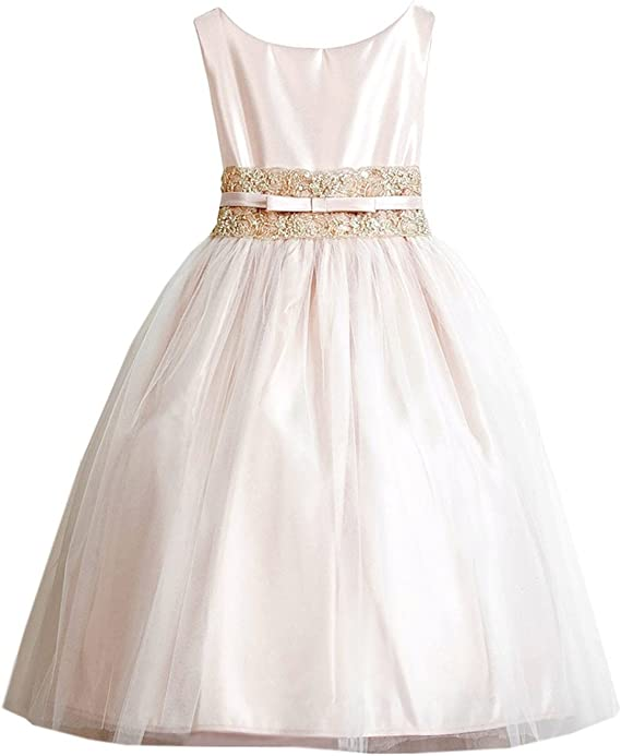 Sweet Kids Big Girls' Vintage Metallic Lace & Tulle Flower Girl Pageant Dress